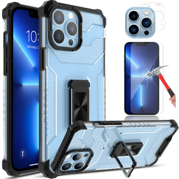 For iPhone 13 Pro Max Case Clear Shockproof Ring Stand Cover HD Screen Protector $7.95
