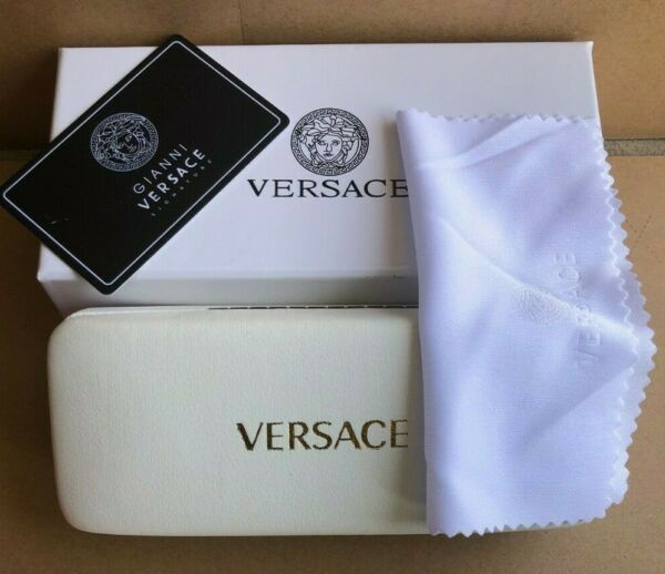 Brand NEW VERSACE WHITE HARD CASE FOR EYEGLASSES WITH CLEANING CLOTH GIFT BOX $17.99