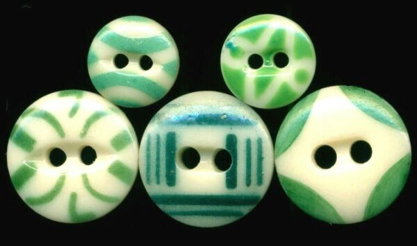 5 Green China Stencils…Includes #7 and 3 Nice Big Ones…Antique Buttons