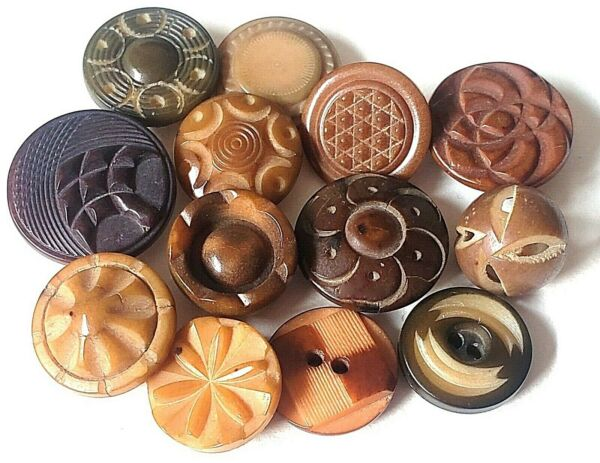13 Small Fancy Pattern Vegetable Ivory Antique Buttons