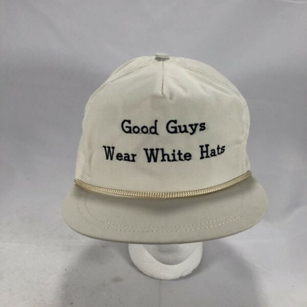 Vintage Good Guys Wear White Hats with Rope leatherback Hat Adjustable $15.00
