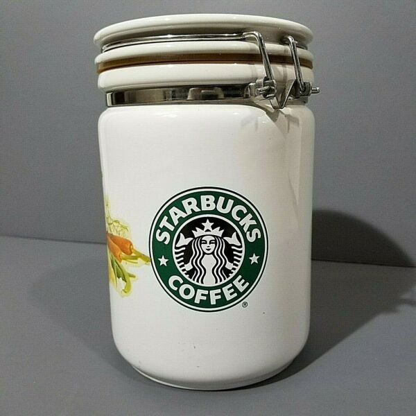 Starbucks Coffee Ceramic Jar Air Tight Latch able White With Vegetables Design
