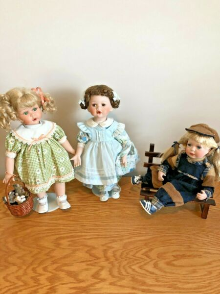 Painted Face Porcelain Dolls Lot Of THREE Dolls 17quot;