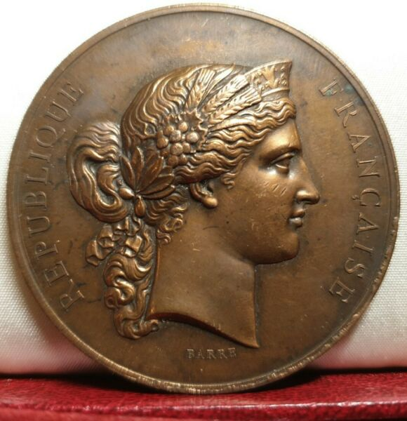 1876 old French Marianne agriculture producers by Barre 50mm copper medal
