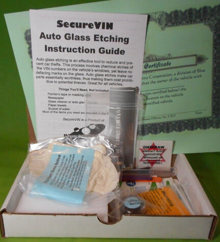 SecureVIN Auto Vehicle Security Glass Window VIN Etching Kit