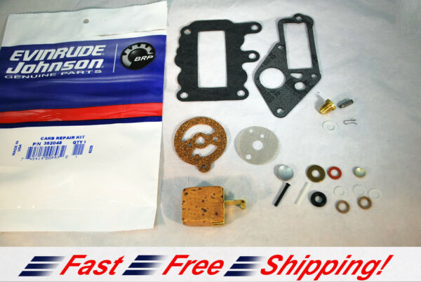 New Johnson Evinrude OEM Outboard 9.5 Carb Kit w Float 382048 BRP OMC Carburetor $25.49