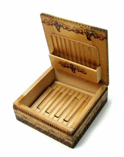 VINTAGE WOOD CIGARETTE BOX CASE HOLDER BULGARIA FOLK NATIONAL PYROGRAPHY SEE »