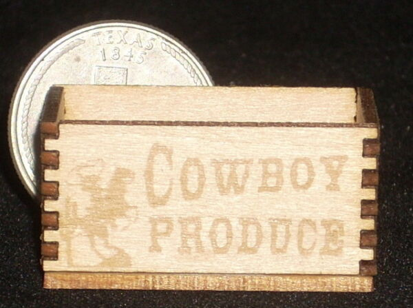 Dollhouse Miniature Cowboy Produce Crate 1:12 Scale  Texas  Market  Grocery