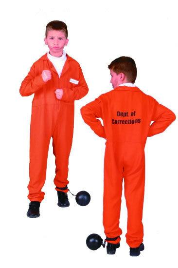 ORANGE CHILD PRISONER CONVICT INMATE BOYS GIRLS COSTUME JAILBIRD KIDS JUMPSUIT