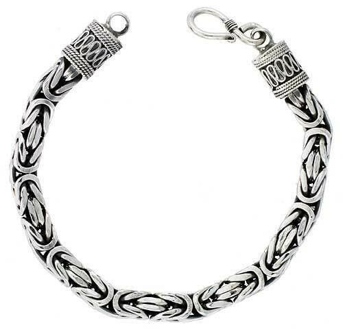 925 Sterling Silver Square Byzantine Chain Necklace 7mm 16