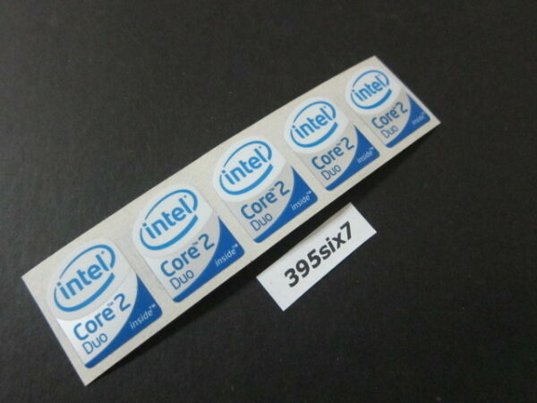 5 Pcs Core 2 Duo Sticker 19mm x 24mm - White Head Desktop Size