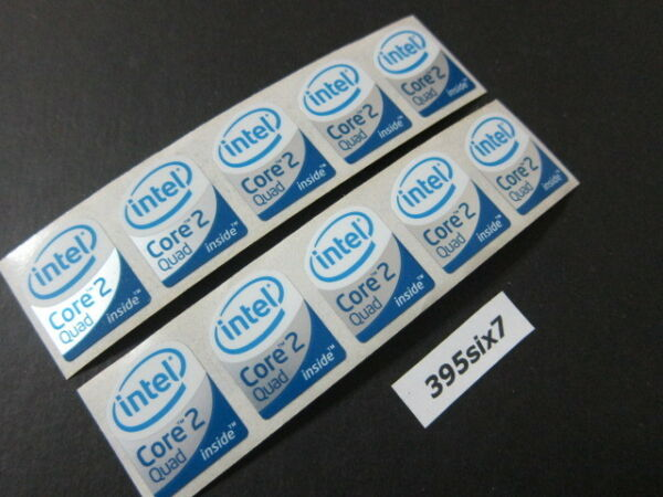 10 Pcs Core 2 Quad Sticker 19mm x 24mm - White Head Desktop Size