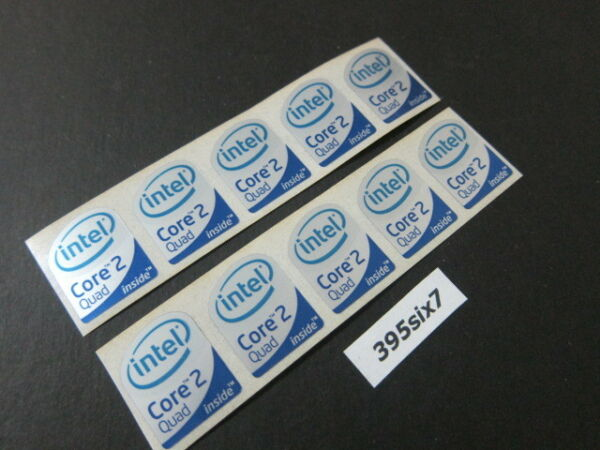 10 Pcs Core 2 Quad Sticker 19mm x 24mm - Silver Head Desktop Size