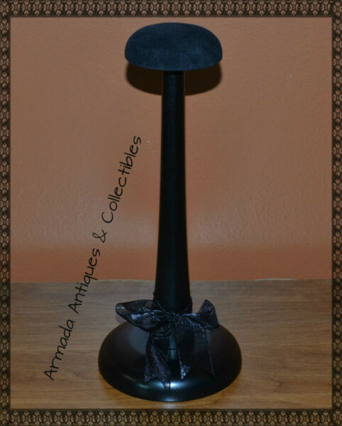 Stylish Wood Hat Helmet Cap Headgear Stand Display with Velour Top 11quot; High