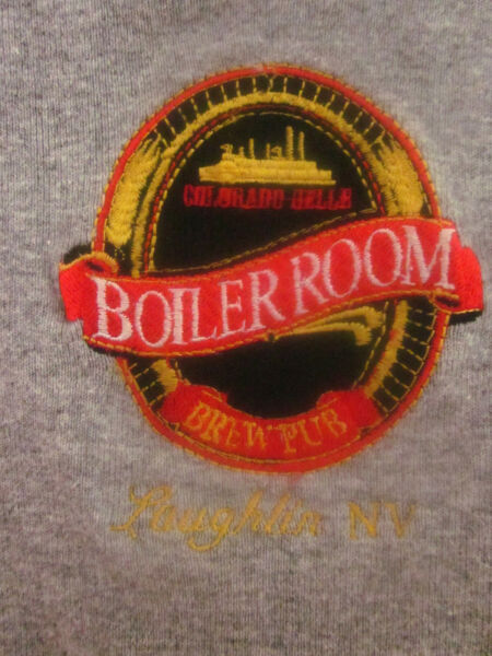 BOILER ROOM BREW PUB juniors lrg T shirt defunct bar Laughlin Nevada embroidery