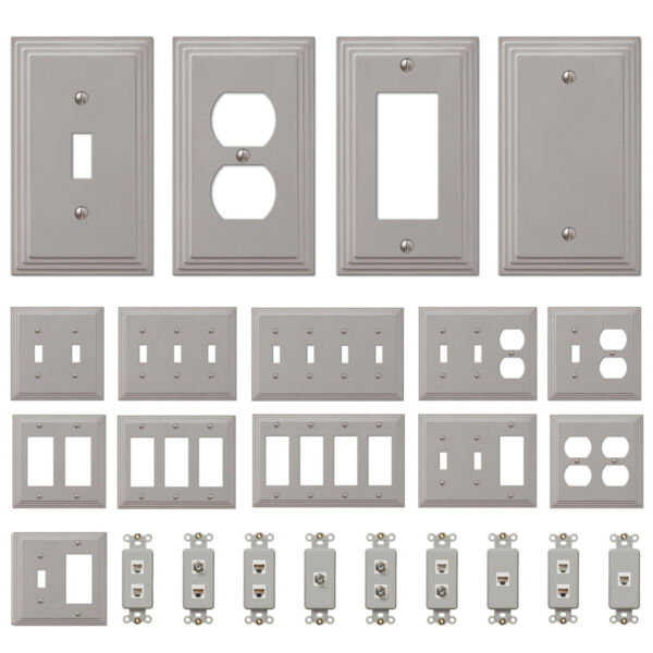 Switch Plate Outlet Cover Wall Rocker Satin Nickel $6.53