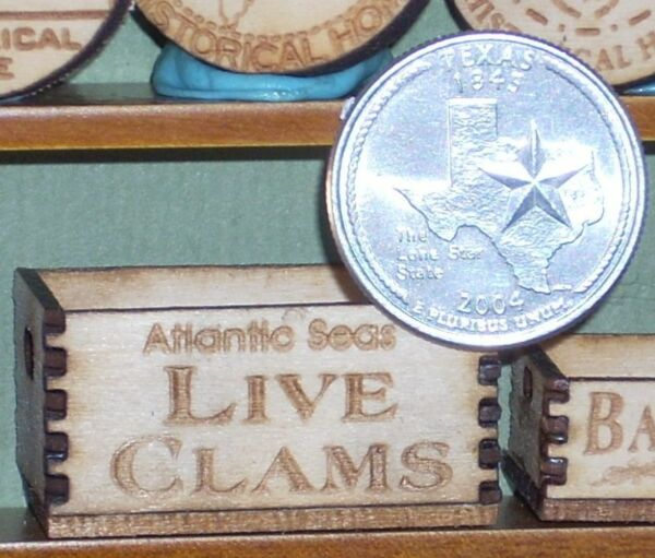 Dollhouse Miniature Atlantic Seas Live Clams Crate 1:12 Market  Store  Grocery