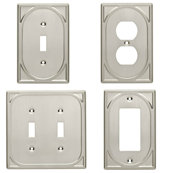 Double Switch Single Switch Plate Outlet Cover Wall Rocker Satin Nickel $5.95