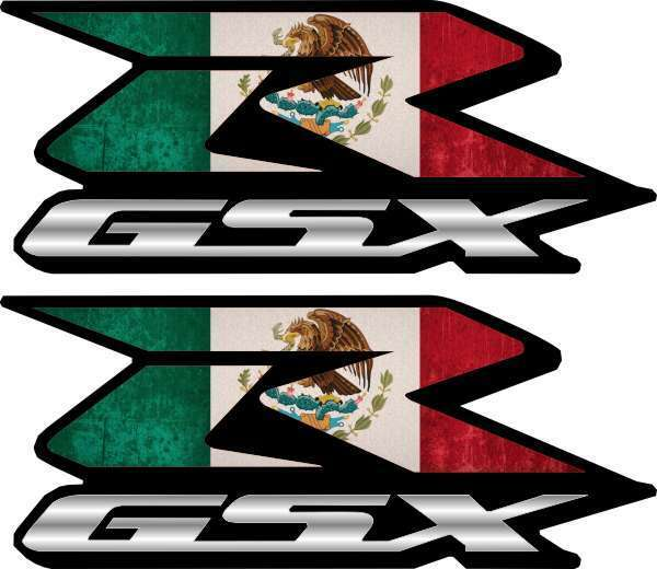 2 Mexican Flag GSXR Decals Stickers 600 750 1000 hayabusa 1300 1100 Mexico