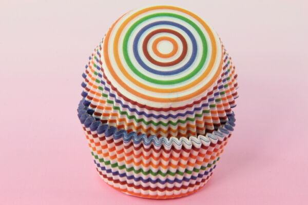 100x 2#x27;#x27; Cupcake Liners Baking Cups Rainbow Stripe Standard Size