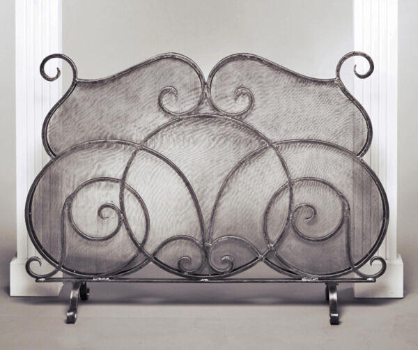 FIREPLACE SCREENS quot;OXFORD SQUAREquot; FIREPLACE SCREEN PEWTER FINISH WIRE MESH