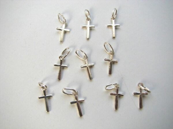 50 pcs Sterling Silver Small Cross Charm Pendants for Bracelets Necklaces Chains