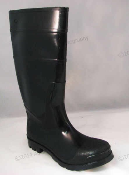 Brand New Mens Rain Boots Black Rubber Waterproof Slip-Resistant Snow Work Shoes