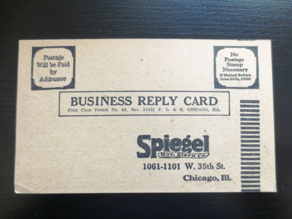 Vintage 1920s Spiegel May Stern Chicago IL Postcard for Store Mail Order Catalog