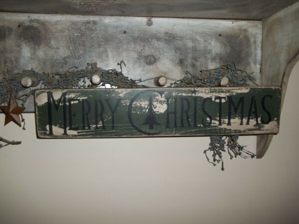 Wood Sign Vtg Prim Merry Christmas Sign Holiday country rustic Wall Decor Sign