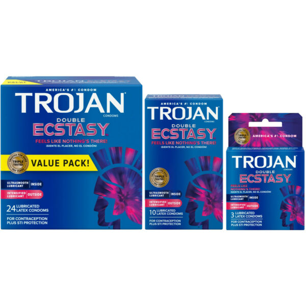 Trojan Double Ecstasy Lubricated Condoms - Choose Quantity