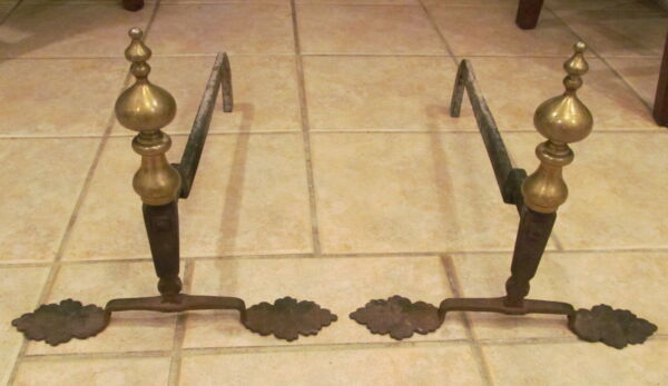 Pair Antique Brass & Wrought Iron Andirons Unusual Leaf Feet