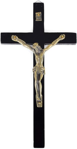 Vintage Wooden Metal Wall Cross Crucifix Holy Religious Carved Christ Black