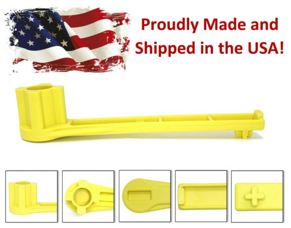 Yellow 4 IN 1 Bung Drum Wrench 55 30 15 Gallon Water Barrel Nut Cap Plug $8.95