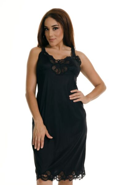 Women Illusion Full Slip Lace Adjustable Strap NonCling Size 34 50 Sexy Vintage $13.99