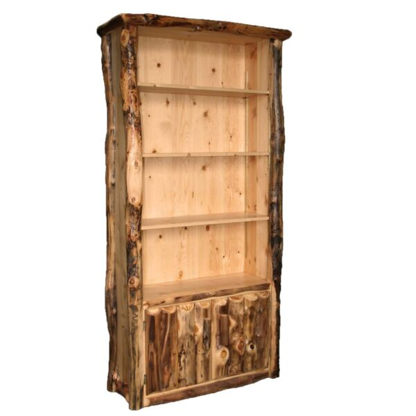 Rustic Log Bookcase - Country Western Cabin Wood Office Furniture Decor