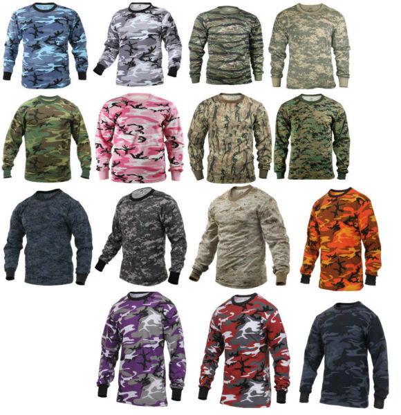 Long Sleeve T-Shirt Camo Tactical Military Crew Tee Undershirt Rothco