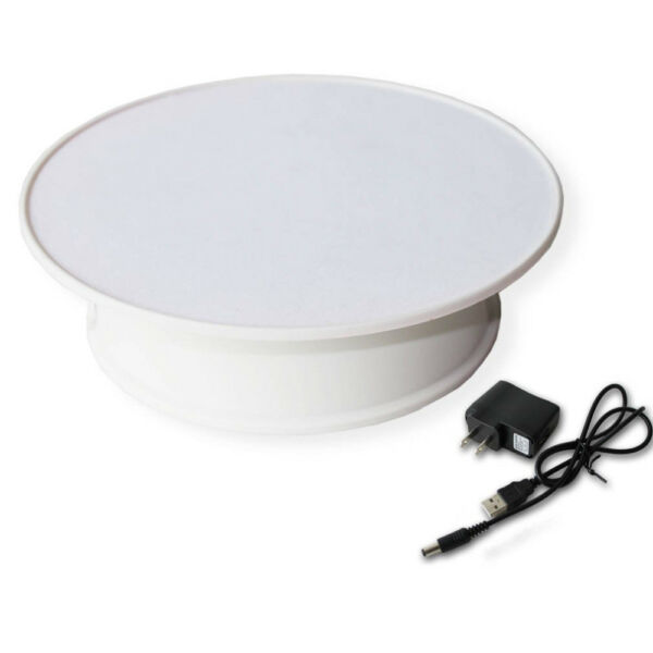 """8"""" White Velvet Top Electric Motorized Rotating Display Turntable for Jewelry"""