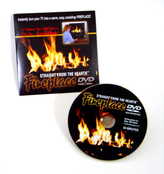 Holiday FIREPLACE DVD of a blazing fire in a fireplace sets a party mood