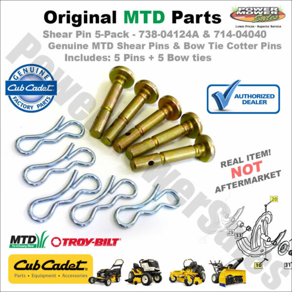 738-04124A 5 Pack Shear Pins & Cotters Cub Cadet  MTD Snow Blowers 714-04040