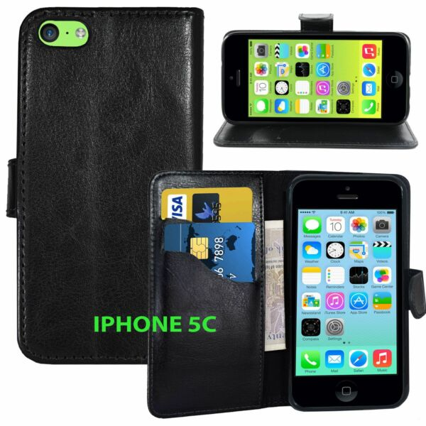 BLACK Wallets stand Case Cover with Card Slots amp; clip for iPhone 5C UK free post GBP 2.99