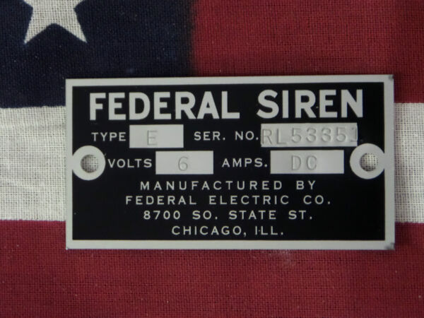 Federal Electric Co. Older Federal Siren Models E amp; 8 Replacement Badge 6 Volt