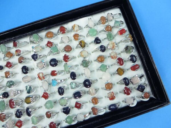 20 rings wholesale jewelry lot genuine agate stone and gemstone rings