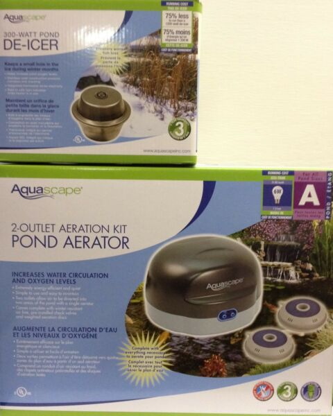 AquaScape 300 Watt pond Heater  De-icer & 2-Outlet Pond Air 2 Aeration Kit