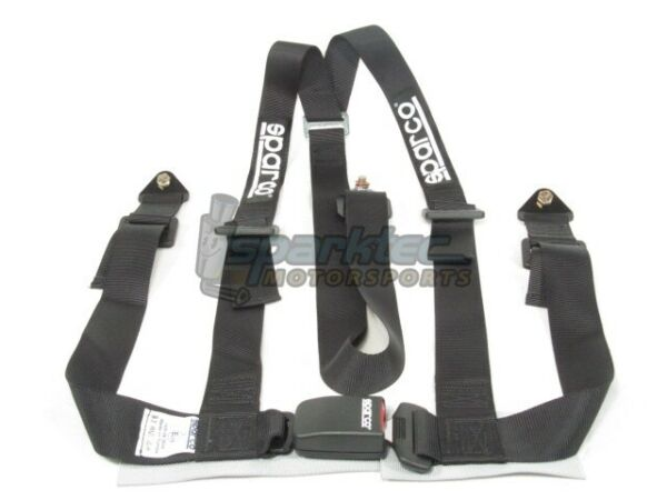 Sparco Racing Seat Belt Safety Harness Street Tuner Black 2-Inch 3-Point Bolt-In