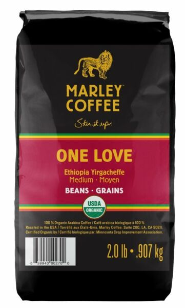 Marley Coffee Organic Whole Bean Coffee One Love 2 Pound  New Free Shipping