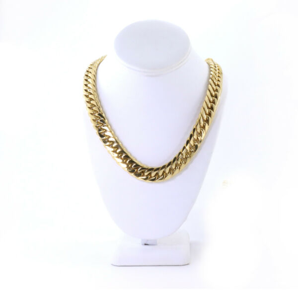 Solid Heavy Large 14K Gold Plated Stainless Steel 16.5mm Miami Cuban Link Chain $34.95