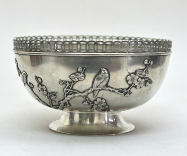 ANTIQUE CHINESE EXPORT SOLID SILVER PRUNUS TREE BIRD BOWL CHINA 1900 HALLMARK