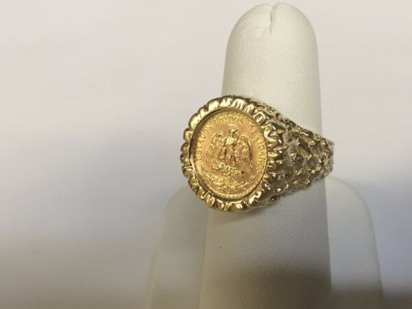 14K Yellow Gold 16 MM COIN RING with a 22K MEXICAN DOS PESOS Coin