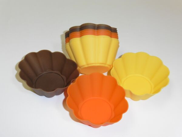 12 pc Harvest Colored Flowered shaped Silicone Baking cupcake Molds Holder NEW