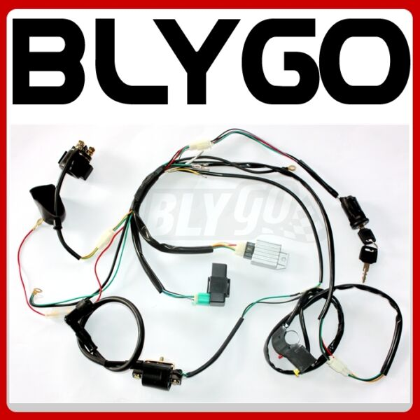 Complete Electric Start Engine Wiring Harness Loom 110 125cc Quad Bike ATV Buggy AU $52.39
